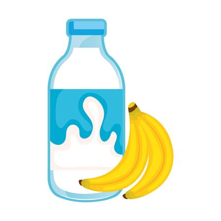 delicious milk bottle with bananas vector illustration design