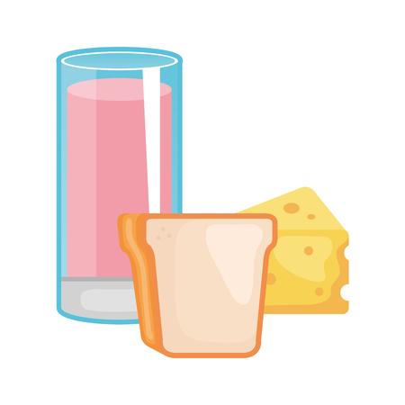 glass cup yogurt with bread and cheese vector illustration design Ilustração