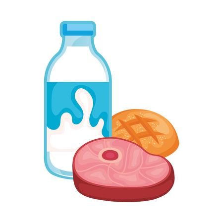 delicious milk bottle with meat and bread vector illustration design