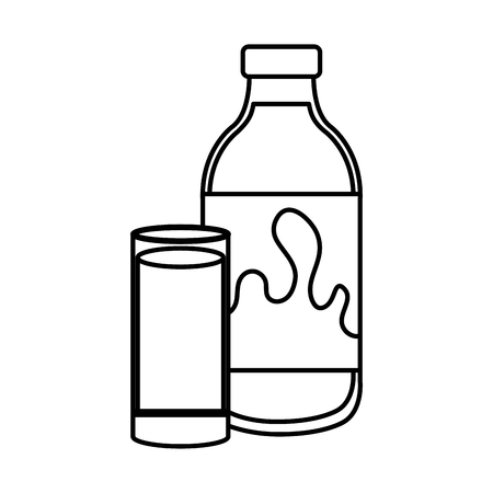 delicious milk bottle and glass vector illustration design Çizim