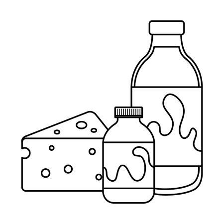 delicious milk and yogurt bottles with cheese vector illustration design