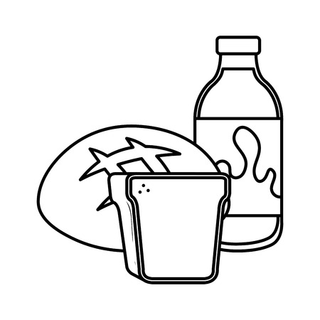 delicious milk bottle with bread vector illustration design