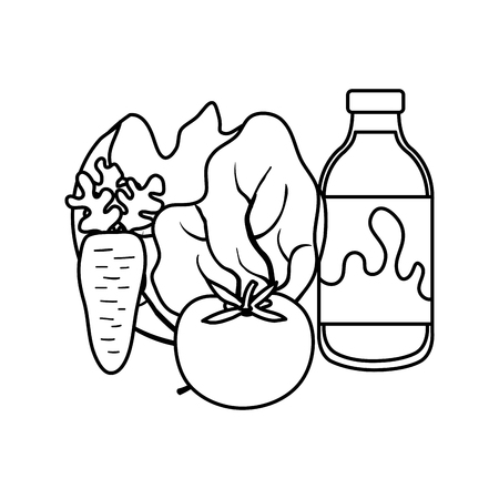 delicious milk bottle with vegetables vector illustration design