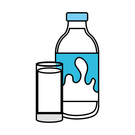 delicious milk bottle and glass vector illustration design Illusztráció
