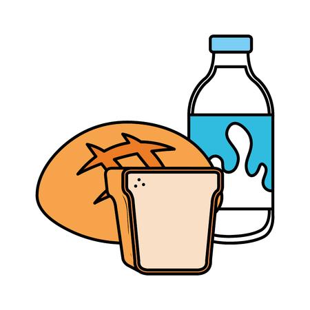 delicious milk bottle with bread vector illustration design