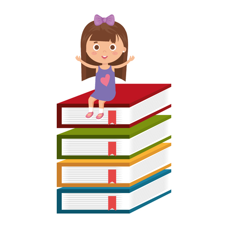 little student girl with pile books character vector illustration design Illustration