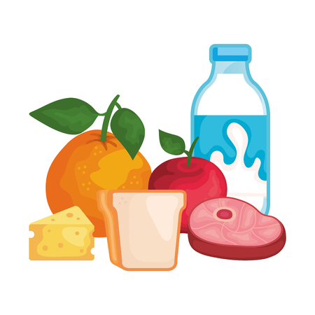 delicious milk bottle with healthy food vector illustration design