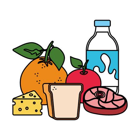 delicious milk bottle with healthy food vector illustration design