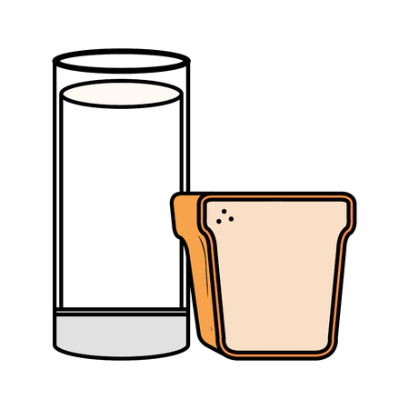 delicious milk glass cup with bread vector illustration design