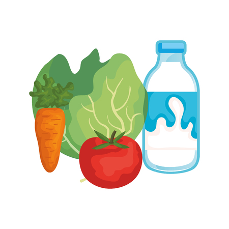 delicious milk bottle with vegetables vector illustration design