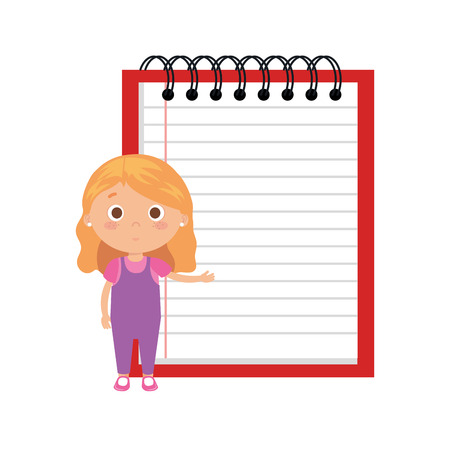 little student girl with notebook vector illustration design