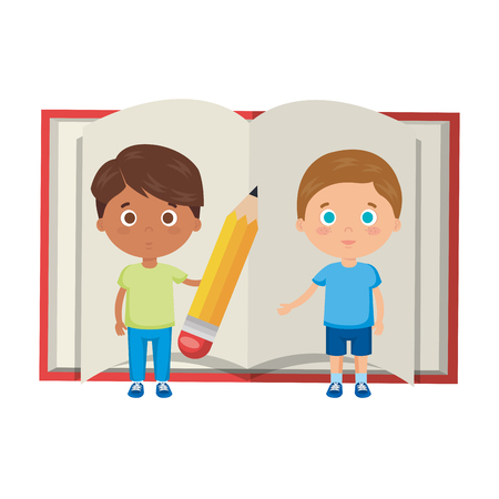 little boys students with book vector illustration design