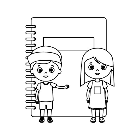 little kids students couple with notebook vector illustration design