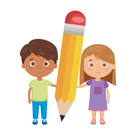 little kids students couple with pencil vector illustration design