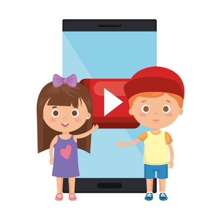 little kids students couple with smartphone vector illustration design Vettoriali