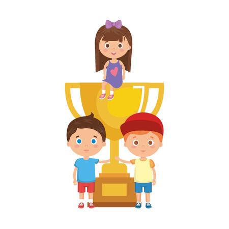 little kids students with trophy cup vector illustration design