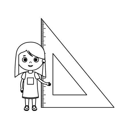 little student girl with triangle rule vector illustration design Illustration