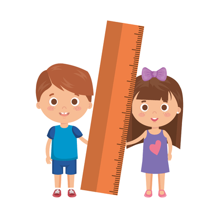 little kids students couple with rule vector illustration design