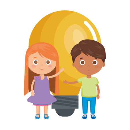 little kids students couple with bulb vector illustration design