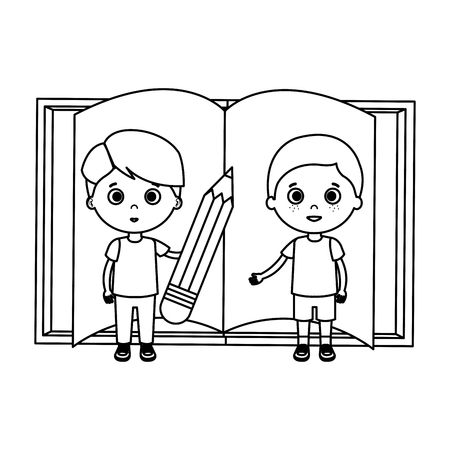 little boys students with book vector illustration design Standard-Bild - 125819359