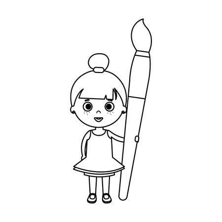 little student girl with paintbrush vector illustration design