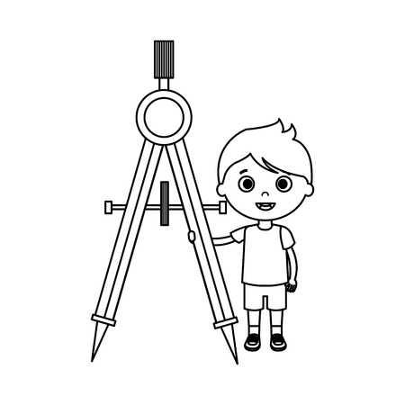 little boy student with compass character vector illustration design Banque d'images - 116197793