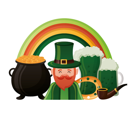 leprechaun with rainbow beers pot pipe horseshoe st patricks day vector illustration