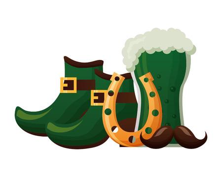 beer boots horseshoe mustache st patricks day vector illustration