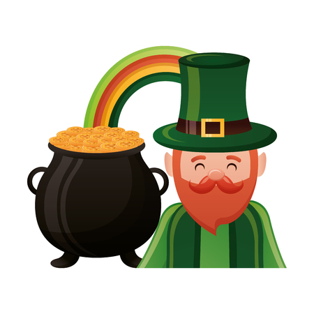 leprechaun with rainbow pot happy st patricks day vector illustration