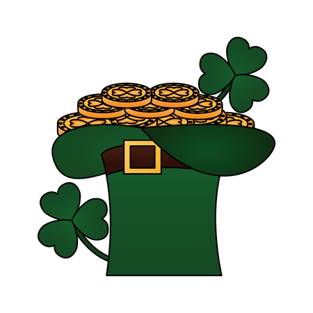 filled hat gold coins clovers happy st patricks day vector illustration