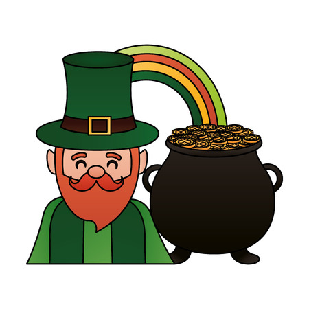 leprechaun with rainbow pot happy st patricks day vector illustration