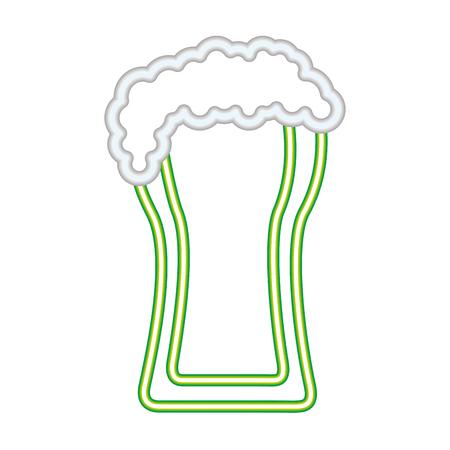 cold beer foam drink neon vector illustration