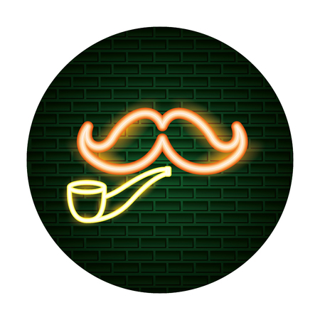 mustache pipe hipster light neon vector illustration Stock fotó - 125819423