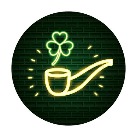 pipe clover st patricks day neon vector illustration