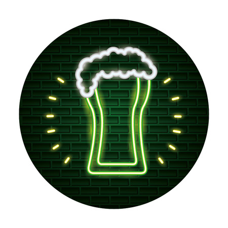 beer foam st patricks day neon vector illustration