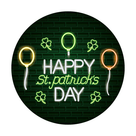 happy baloons st patricks day neon vector illustration Иллюстрация
