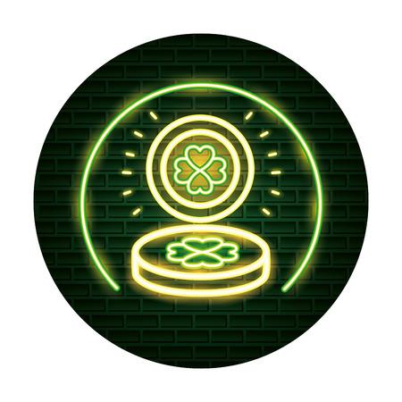light coin clover st patricks day neon vector illustration