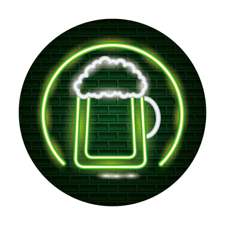 glass beer st patricks day neon vector illustration