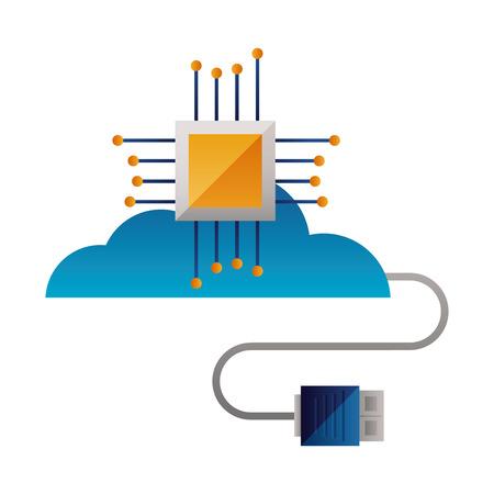 Cloud-Computing-Motherboard-Schaltungsstecker-Vektor-Illustration