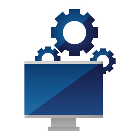 computer monitor gears on white background vector illustration