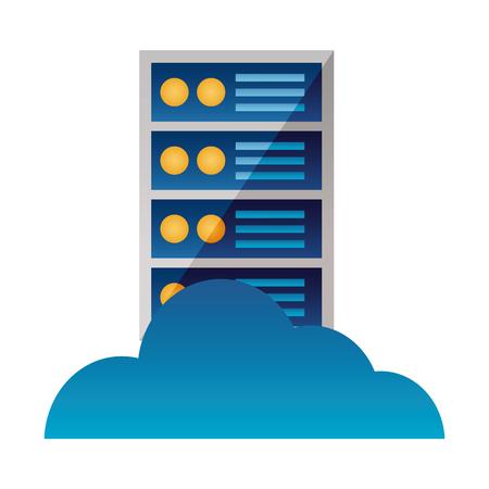 cloud computing computer case technology vector illustration