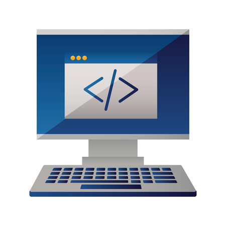 computer monitor keyboard coding website vector illustration Vetores