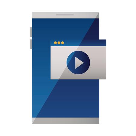 smartphone device website video play vector illustration