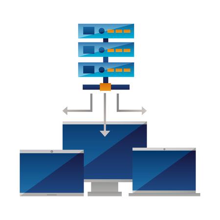 database server computer monitor laptop vector illustration Stock Vector - 125819475