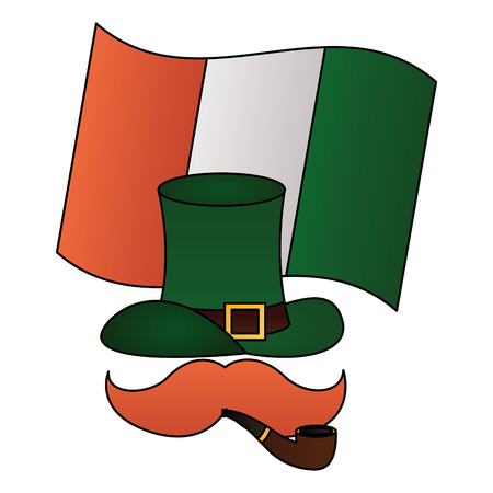 hat mustache pipe and flag happy st patricks day vector illustration Ilustracja
