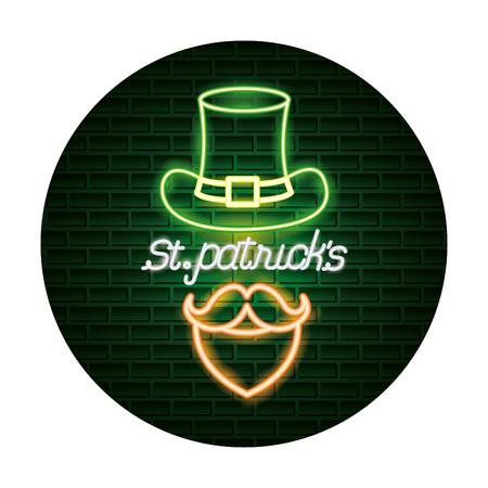hat mustache st patricks day neon vector illustration Reklamní fotografie - 125819478