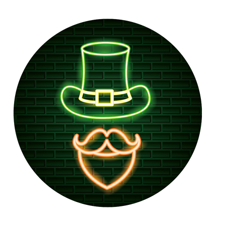 hat mustache beard st patricks day neon vector illustration