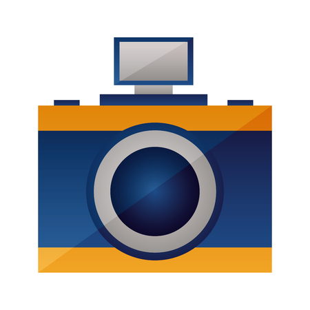 photography camera device on white background vector illustration  イラスト・ベクター素材