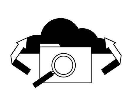 cloud computing folder transfer analysis vector illustration
