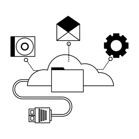 cloud computing connector cable file vector illustration Ilustração